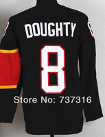Free Shipping #8 Drew Doughty Youth(kids) Black New Embroidery/Sewing logos Ice hockey jerseys Cheap Sale wholesale