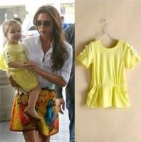 2014 new little girl's yellow princess dress 100% cotton short-sleeve bow cute dresses for flower girl children's clothing