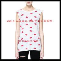 Free shipping High quality 2014 FASHION SUMMER  Sexy   tee  shirt  women Sleeveless shirt Print red lip t shirt women