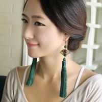 Chinese vintage style drop earring accessories fan green tassel earrings female long design