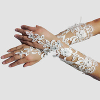 The new hollow lace straps wedding gloves long paragraph Diamond Bridal Gloves Wedding Accessories Wholesale