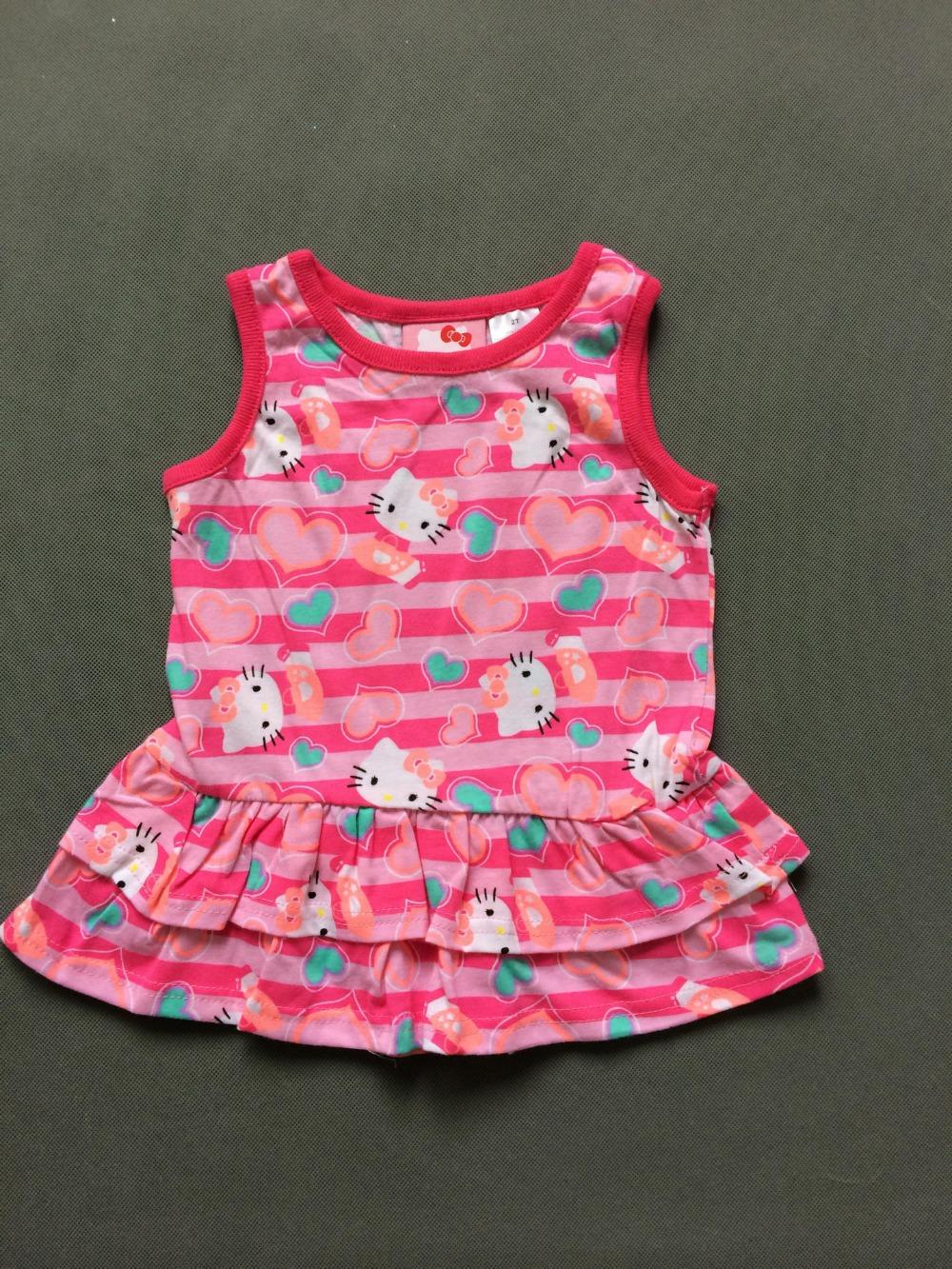 (5 Pcs/Lot) Very Beautiful Colorful Love Heart Hello Kitty 1~4 Years Children Girl's Sleeveless Dress(China (Mainland))