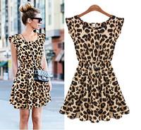 2014 summer new European and American fashion casual round neck sleeveless dress was thin waist leopard dress women
