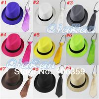 Solid Color Baby Unisex Fedora Hat with Necktie Boys Girls Fedoras with Neck Tie Set Children Top Hat Jazz Cap 10sets FH022