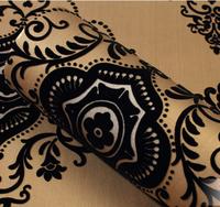 Classic Black 3D Damask Velvet Flocking Wallpaper Sound-absorbing Tv Background