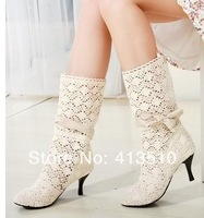hot sale Hot fashion gentlewomen cutout knitted summer cool straight female bow stiletto boots beige