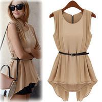 S-XL free shipping Manufacturers supply new fashion Women's Irregular fashion Sleeveless shirts with belt women's blouse#S05541