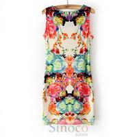 Brand New 2014 Sleeveless Summer  Women Short  Dress  Casual Shorts Girl Print Sexy Maxi Dresses Free Shipping