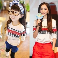 2014 Summer New Fashion Soldier Mother and Daughter  Clothing Set Korean Style Family Clothing Set