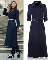 2014 Spring autumn woman's fashion elegant trench coat OL's x-long outwear ankle length coat maxi coat  plus size M-XXXL