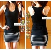 Wholesale women's cotton striped summer dress sleeveless vest word bottoming bottoming vest dress strap dress