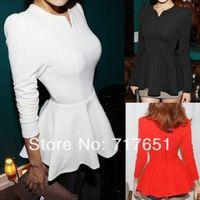 Fashion Women Peplum Frill Puff Sleeve Fitted Clubwear Shirt Blouse Top T-Shirts