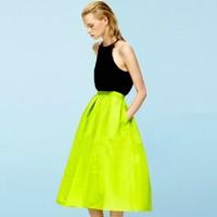 2014 New Fashion Brand  Spring/Summer  Women Vintage New Fashion Metal Shiny High Waist Maxi  Midi Plus Size Skirt