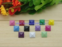 Mix-Colors 100pcs 12mm Pyramid Rivets and Studs Punk DIY Metal  for Clothing Shoes Bags Accessories