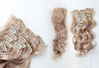 "Long wavy Hair One piece clips in hair extensions Full head top 22""(55cm )18""(45cm) long False Fake hair blonde"
