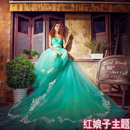 Cheap emerald green wedding dress