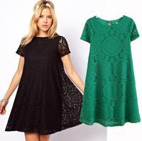2014 new Milan Fashion ;  women casual loose short sleeve dress ; retro hollow out dresses ; vestidos de festa ; ropa mujer