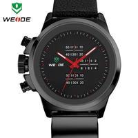 3ATM new genuine soft leather watchband WEIDE watch men brand famous original Japan Miyota 2035 quartz movement 1 year guarantee