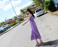 Modal cotton ruffle bohemia full dress tube top one-piece dress beach dress