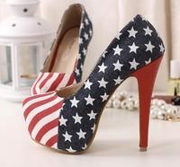 Free shipping spring 2014 shoes jeans platform pump women's high heels zapatos women shoes USA flag high heels