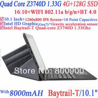 Tablet PC laptop 10.1 inch Capacitive Intel Quad Core Baytrail-T Z3740D 1.33Ghz 4G RAM 128G SSD WIFI HDMI Dual Camera Window 8