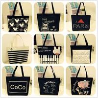 2014 Fashionable casual women's handbag cartoon large capacity canvas bag handbag shopping bag one shoulder lunch bag