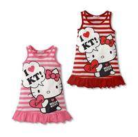 Hot Sale Cotton Tank Dress Girls Stripe HelloKitty Fashion Child Girl Baby Flounced Beach Dresses One piece Pink Red 635163