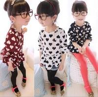2014 New Fashion Chiffon Girl Dresses Heart Design Long Sleeve One Piece Girls Baby Dress Wear 2-7Years Clothing 635170