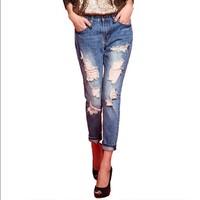 Denim jeans pants women hole ripped designer jeans women trousers vintage brand spring 2014 summer capris pencil pants GY1432