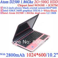 "wholesale 10.2"" laptop notebook pc with Intel Atom D2500 Dualcore 1.86Ghz processor Builtin 1.3 megapixel camera 2G RAM 500G HDD"