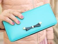 WBG0956 Korean Version Fashion Bowknot Candy Color Zip-around Bifold  Long Design Women Card Holder Wallet Purse Pocket Book