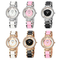 Women Dress Watches Fashion Wristwatches Girls Lady Bracelet Elegant Design with Rhinestone Quartz Watch KIMIO K485M