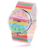 Willis Brand Big Dial Trend Cartoon Rainbow Stripes Flower Women Ladies Waterproof Sports Watch Best Children Gift Free Shipping