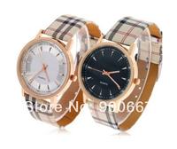 Brand Fashion Rose Gold Grid Leather Strap Simple Style British Strips Quartz Watch Men Women Fashion Ladies Dress Wristwatch