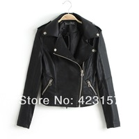 2014 Spring New Fashion Women's PU Short Jacket Turn-down Collar Leather Coat Free Shipping ZX0137