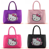 2014 New Arrived hello kitty cartoon handbag Women's lovely totes Small handbags for girl High quality Oxford waterproof handbag