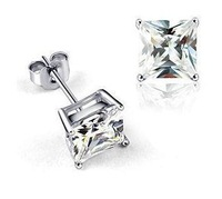 Wholesale white gold plated crystal fashion stud earrings wedding jewelry for women 1J149