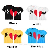 2014 new spring summer Korean couple Hot Funny Stylish Sweetheart Short Sleeve Round Neck T-shirt for Lovers One Piece E2707