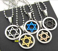 Magen David 2014 New Men and Women Jewelry SOLOMON HEXAGRAM VOGUE 316L titanium steel necklace pendant  SIMPLICITY BOY gift