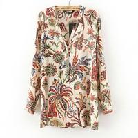 2014 new colorful Botanical Garden printing stand collar loose size retro blouse chiffon fashion