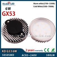 Aluminium PVC Cover 6W GX53 LED 110V 220V 230V 5050SMD warm/cold white LED Cabinet light closet Puck Light led lampada bombillas