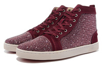 2014 new red bottom High Top Men Sneakers Burgundy hot fix rhinestone Shoes for discount