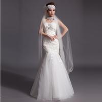 2014 new deep V collar white lace wedding dress fishtail trailing vest shoulder bridal gown brand designer wedding dress
