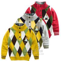 Short in size child sweater british style child dimond plaid 100% turtleneck cotton sweater pullover sweater