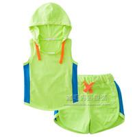 Clothing set t-shirt 2014 male female child baby sports color block decoration set sleeveless with a hood t shirt shorts
