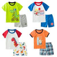 Clothing short-sleeve T-shirt set 2014 male female child baby cartoon lounge set t shirt shorts