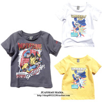 Short in size ploughboys child short-sleeve T-shirt super man male child baby 100% cotton o-neck white t-shirt