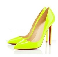 Nightclub Sexy Neon Color  Fluorescent Color Pointed Shoes With High Heels  Women Pumps