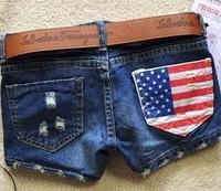 FREE SHIPPING 2014 summer new arrival denim shorts  Hot sale women's fashion America flag short jeans female girls ST001