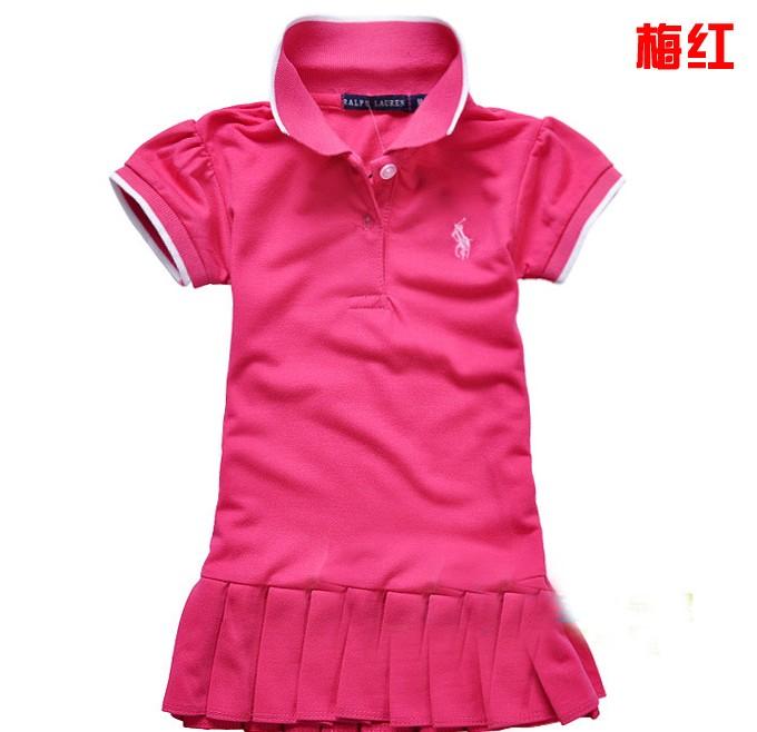 Free Shipping NEW Fashion 1PC/Lot Summer Baby Girls Cute Sport Color Stripe POLO Dress Baby Girl Cotton Fashion Sport Dress(China (Mainland))